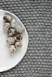 Quail eggs on a plate. Decorative plate with a pattern Royalty Free Stock Image