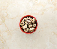 Quail eggs in a plate on a marble background. Top view Copy space Stock Image