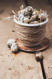 Quail eggs in in a pot with straw Royalty Free Stock Images