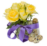 Quail  eggs and roses for easter Stock Images