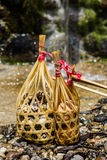 Quail eggs in round bamboo basket boil on hot spring Stock Images