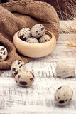 Quail eggs on rustic wooden background. Soft view Stock Photography