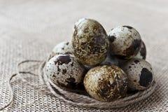 Quail eggs on sack background. Closeup quail eggs on sack background Royalty Free Stock Photos