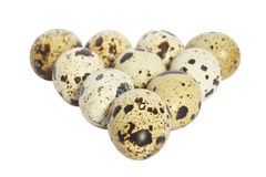 Quail eggs. Quail eggs on a saucer. Isolated.  White background Royalty Free Stock Image