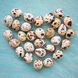 Quail eggs in shape of heart on a blue wooden background, top vi Royalty Free Stock Images