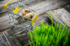 Quail eggs in shopping chart Royalty Free Stock Photos