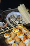 Quail eggs skewers in Xian Royalty Free Stock Image