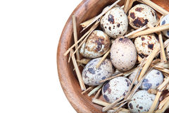 Quail eggs and straw in a wooden bowl on white Royalty Free Stock Photo