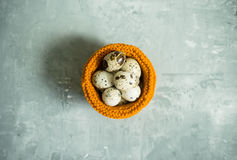 Quail eggs in textile basket on the rustic background Royalty Free Stock Image