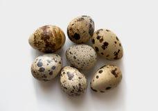 Quail eggs. On a white background Royalty Free Stock Photo