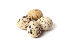 Quail eggs are  on a white background. Stock Photos