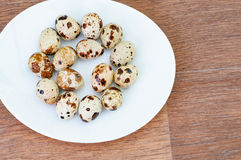 Quail eggs on a white plate over wooden background. The quail eggs on a white plate over wooden background Royalty Free Stock Photo