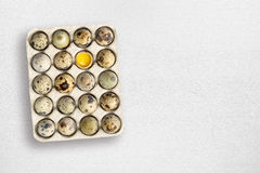 Quail eggs on white table Royalty Free Stock Images