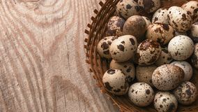 Quail eggs in wicker basket on wooden background royalty free stock images