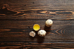 Quail eggs. On wood background Royalty Free Stock Image