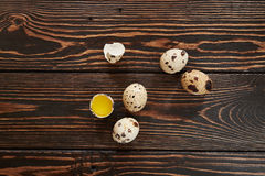 Quail eggs. On wood background Stock Image