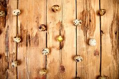 Quail eggs on wooden background. Happy easter stock photo