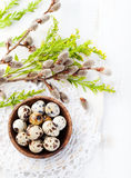 Quail eggs in a wooden bowl Easter white background Willow Top view Copy space Stock Photo