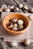 Quail eggs in a wooden bowl on a gray background Stock Photos