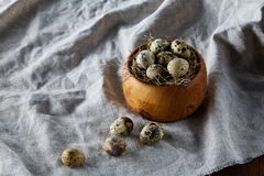 Quail eggs in a wooden bowl on a homespun tablecloth, top view, close-up. Fresh spotted quail eggs in a wooden bowl on a homespun tablecloth, top view, close-up Royalty Free Stock Images