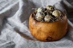 Quail eggs in a wooden bowl on a homespun tablecloth, top view, close-up. Fresh spotted quail eggs in a wooden bowl on a homespun tablecloth, top view, close-up royalty free stock photos