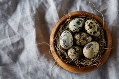 Quail eggs in a wooden bowl on a homespun tablecloth, top view, close-up. Fresh spotted quail eggs in a wooden bowl on a homespun tablecloth, top view, close-up royalty free stock image