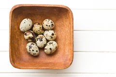 Quail eggs in wooden bowl Stock Image
