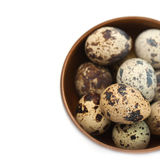 Quail eggs in a wooden bowl Royalty Free Stock Photos
