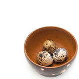 Quail eggs in a wooden bowl Royalty Free Stock Images