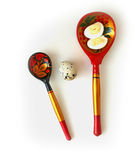 Quail eggs in wooden spoon flat lay Stock Photo