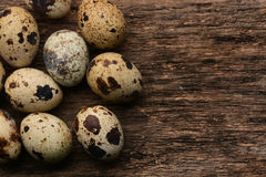 Quail eggs. On wooden table Stock Images