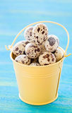 Quail eggs in yellow metal bucket, on blue wooden background Royalty Free Stock Images