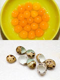Quail eggs yolks Stock Photo