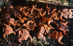 Quail grilled. In the market Stock Photo