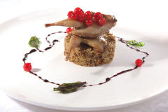 Quail with porridge Royalty Free Stock Photo
