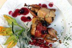 Quail roast. A roasted quail on a plate stock photography