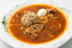 The quail soup with egg Stock Image