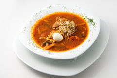 The quail soup with egg Royalty Free Stock Image