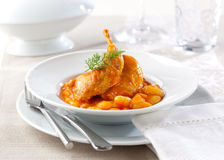 Quail with white beans Royalty Free Stock Image