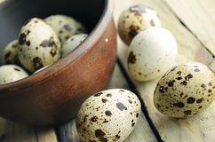 The quails eggs. The quail eggs in a brown bowl on wooden surface Stock Image