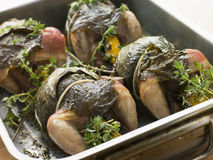 Free Quails Roasted In Vine Leaves With Lemon And Thyme Royalty Free Stock Images - 5949859