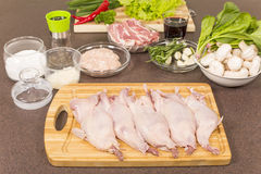 Quails a whole bird and products for stuffing Royalty Free Stock Images