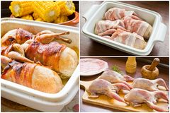 Quails wrapped in bacon - preparation and cooking Stock Photo
