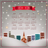 A 2016 quaint Christmas village calendar. For print or web use stock illustration
