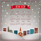 A 2017 quaint Christmas village calendar. For print or web use Royalty Free Stock Image