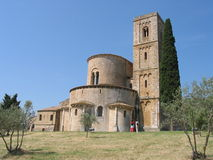 Quaint church in countryside. Scenic view of quaint church in tower in countryside, Tuscany, Italy Stock Photos