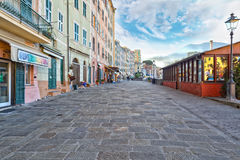 Quaint cobbled street in Camogli, Italy Royalty Free Stock Photography