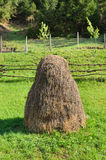 Quaint conical haystack in a pasture Royalty Free Stock Photography