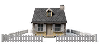 Quaint Cottage House With Garden And Picket Fence Royalty Free Stock Photos