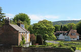 Quaint English village. Scenic view of homes in quaint English village, summer scene Stock Photo